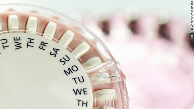 Birth control pills inside a pill box