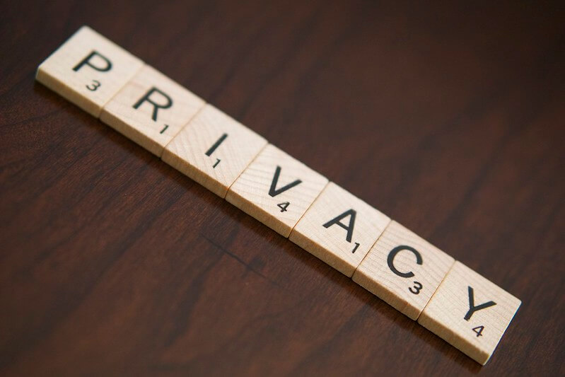 Scrabble letters spelling out the word 'privacy'