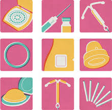 Different contraception methods against pink background