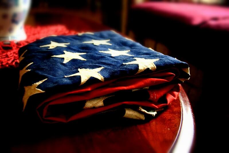American flag folded showing the stars on top
