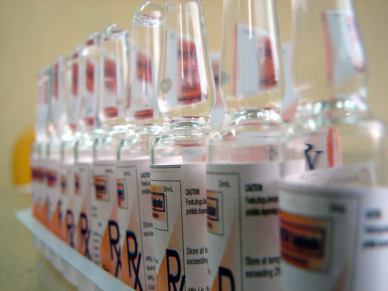 Vials lined up in a row