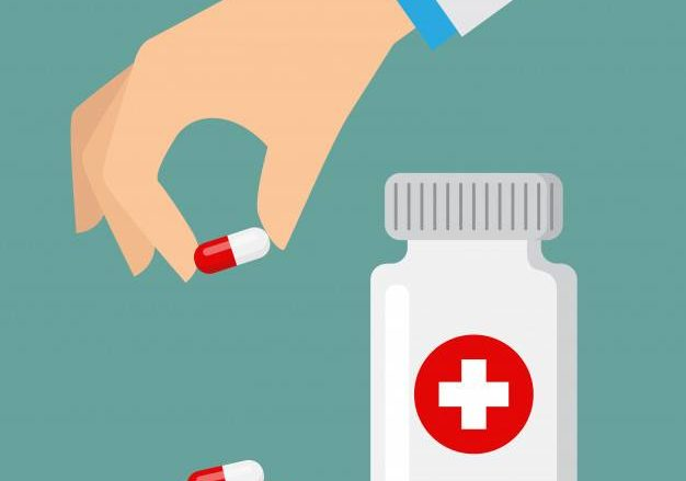 Illustration of a medical staff picking up a pill form outside the medicine bottle