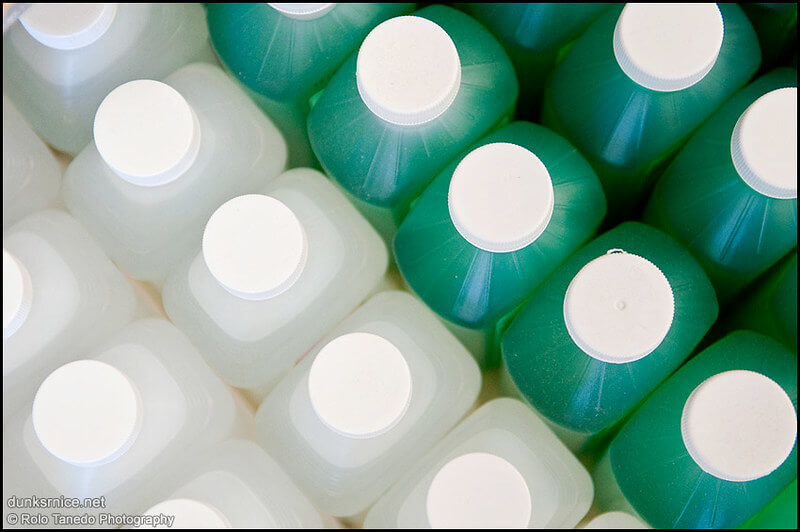 Photo of rubbing alcohol bottles shot from above
