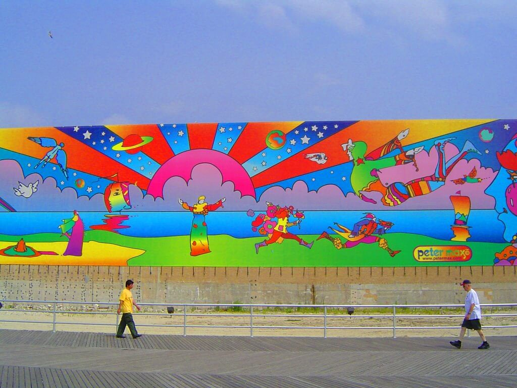 Wall graffiti in psychedelic colors