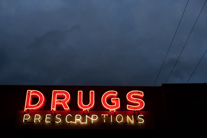 Signage saying drugs and prescriptions