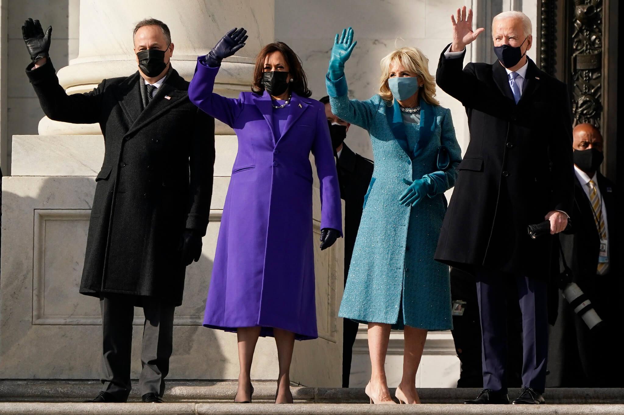 Joe Biden and wife with Kamala Harris and husband