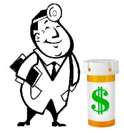 Doctor standing beside a medicine bottle labeled with a dollar sign