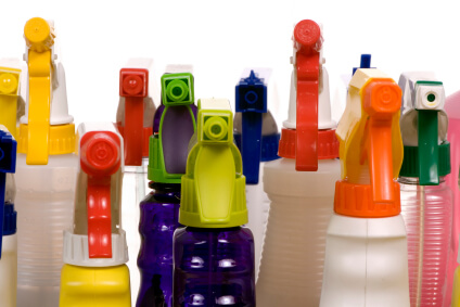 Photo of cleaning supplies in spray bottles