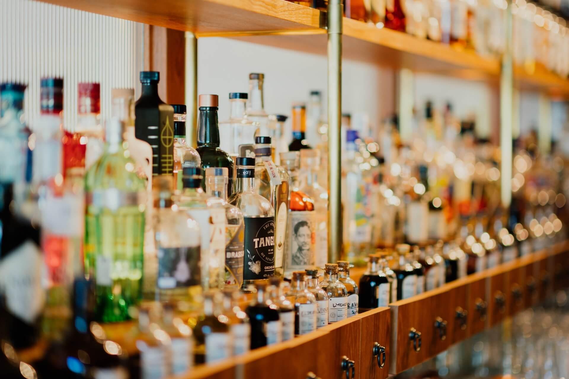 Bottles of alcohol in a liquor shelf
