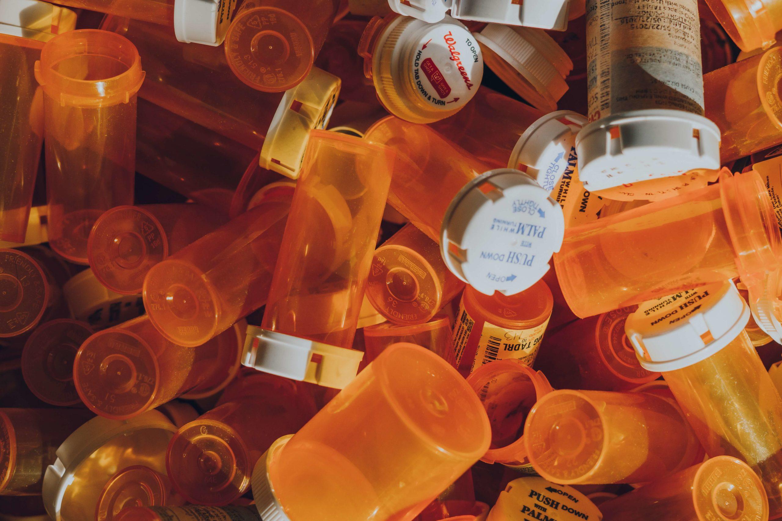 Empty orange medicine bottles