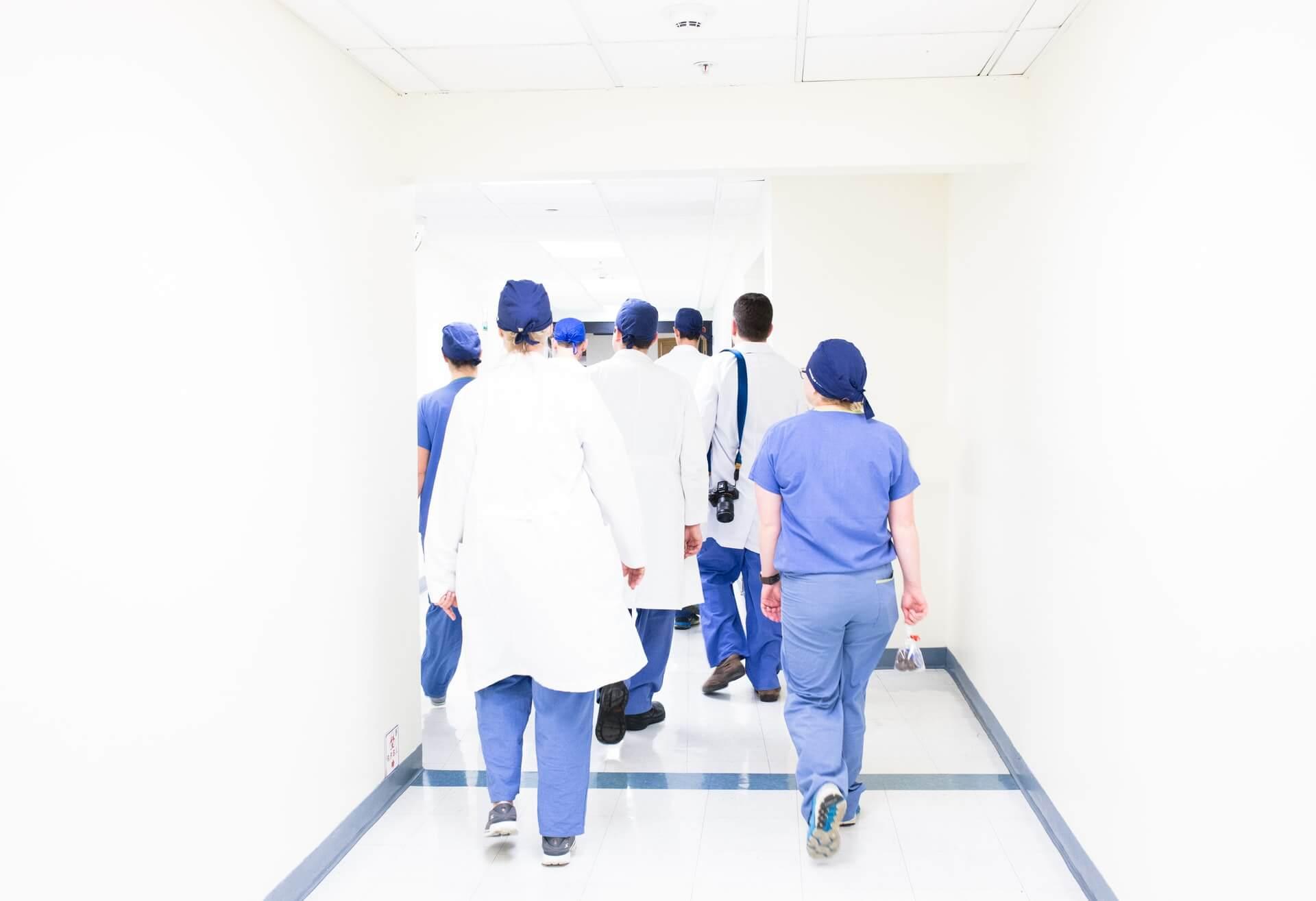 Nurses walking on a hospital's hallway