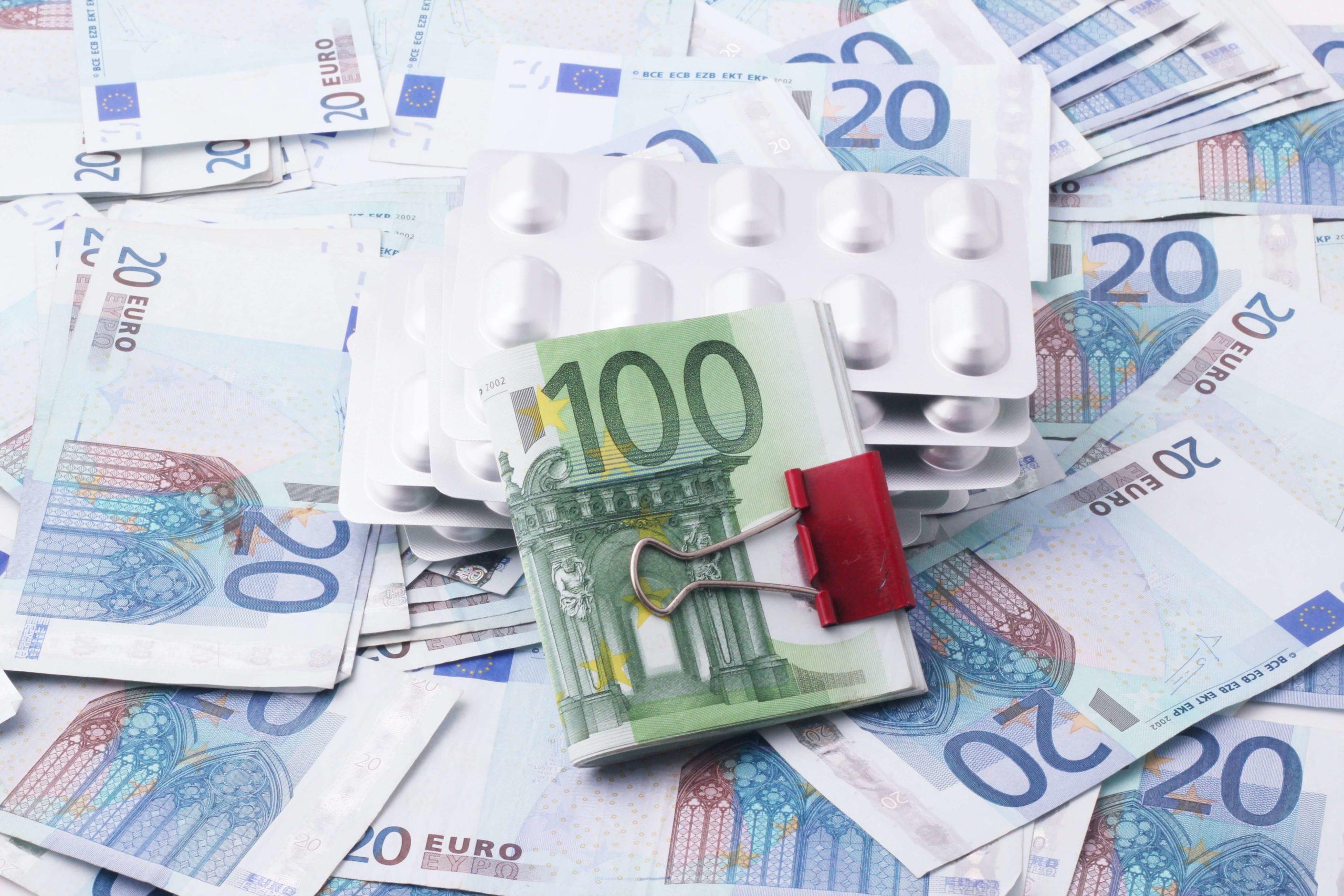 Dollar bills with medicine