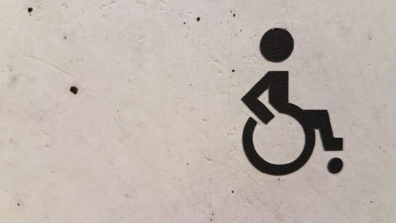Symbol showing a person on wheelchair