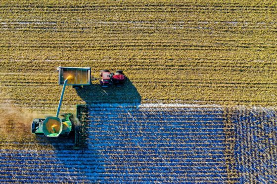 Top view of tractor in a field
