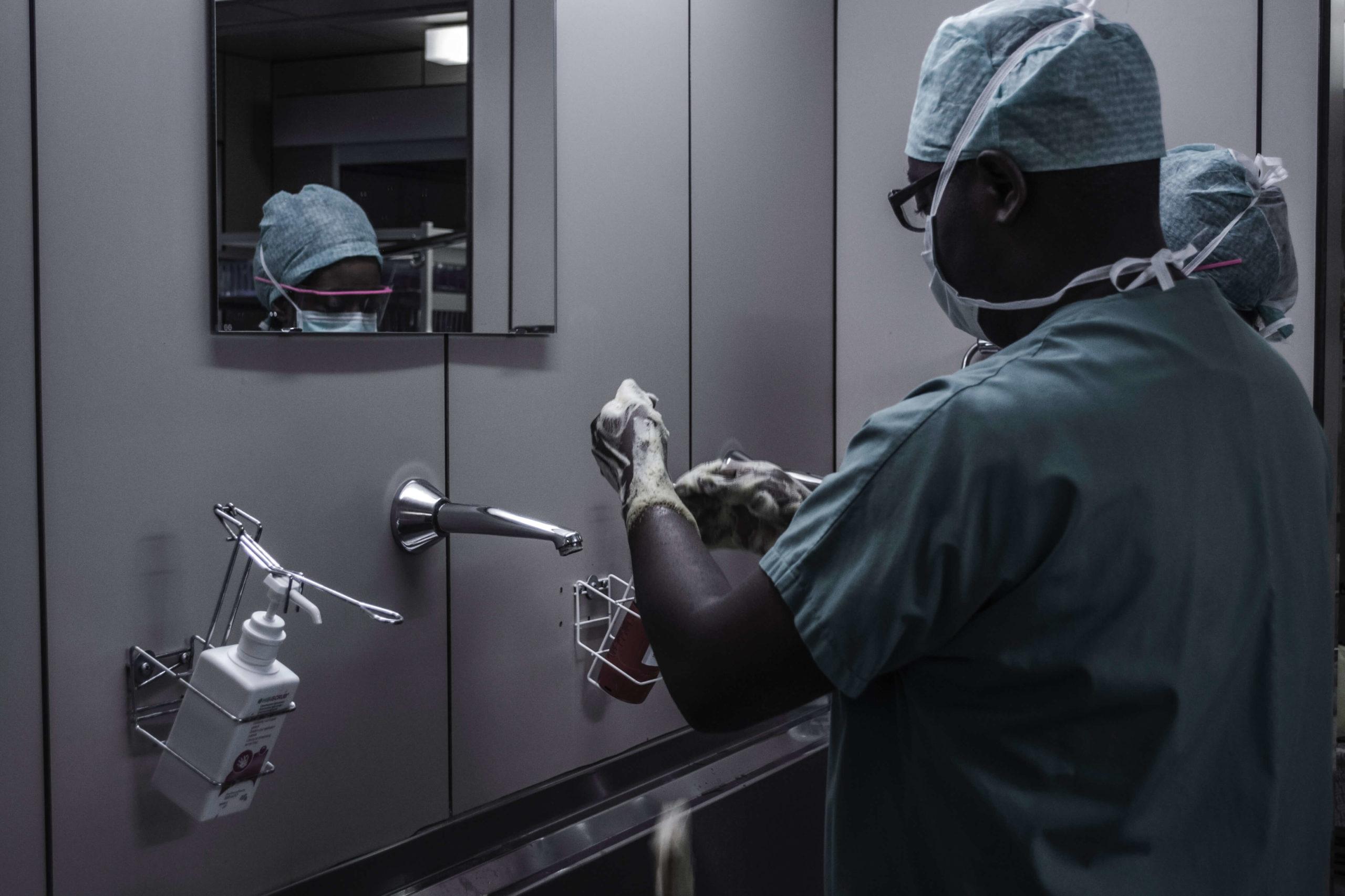 Medical staff inside a dark room